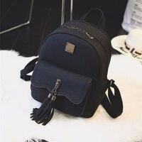 EnoPella Tassel Women Leather Backpack Teenage Backpacks For Girls Vintage Feminine Backpack