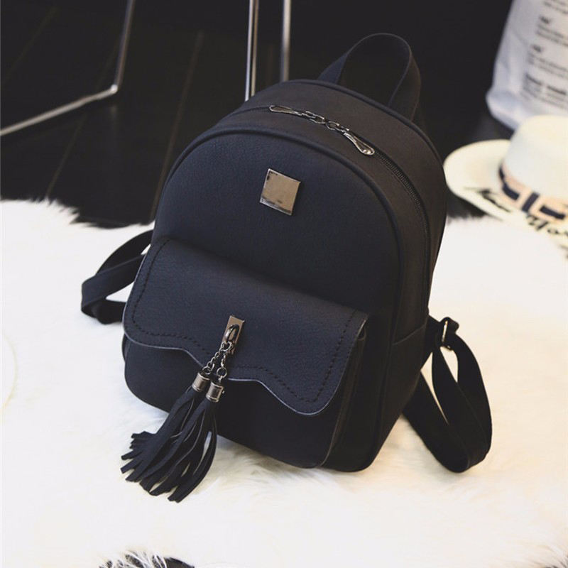 tassel women leather backpack teenage backpacks for girls vintage feminine backpack sac a dos femme