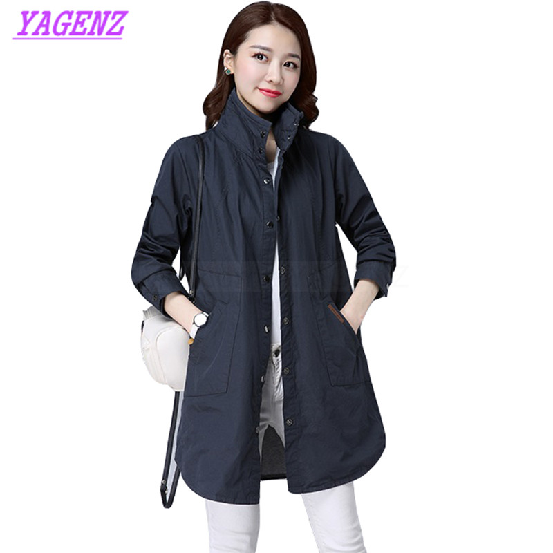 New Spring Autumn Windbreaker Coat Women Korean Long Trench Coat Young women Loose Fashion Navy blue High quality Overcoat B286