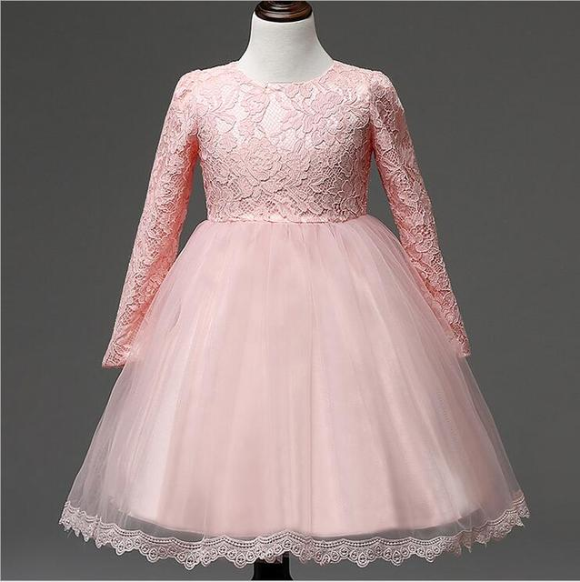 Full Sleeve Lace Up Princess Flower Girl Dresses Ball Gowns Pageant