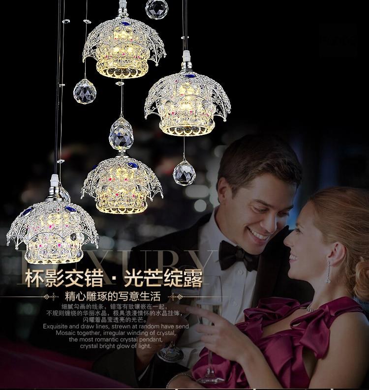 ФОТО Modern K9 Crystal pendant lamp LED night-lighting pendant light Dining room bulb Adjustable color temperature LED Glass pendant