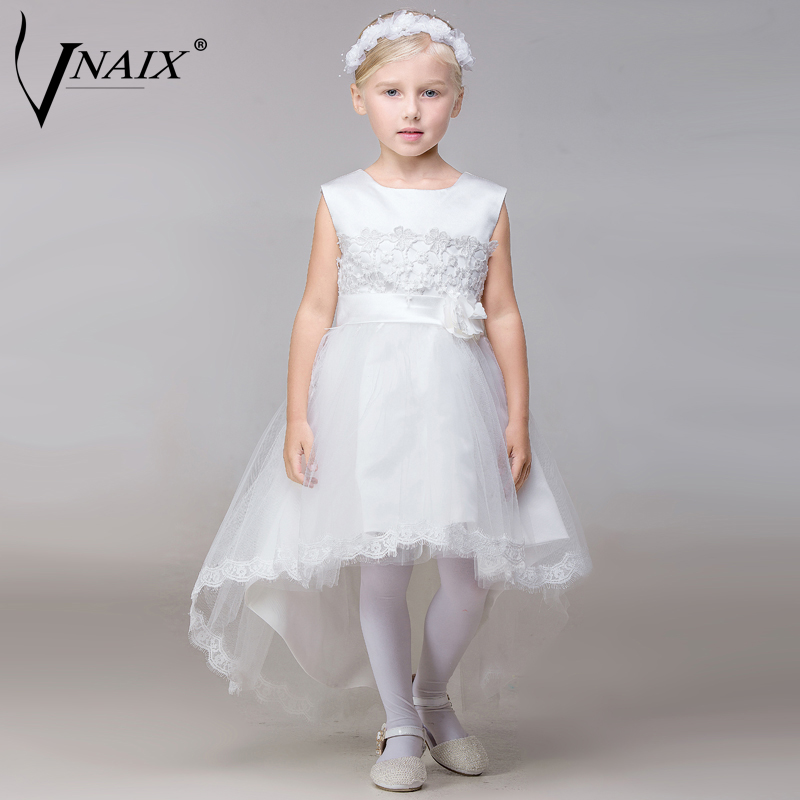 Vnaix F1021 High Low Trailing Pageant Dresses For Girls with Lace and Bow First Communion Dress