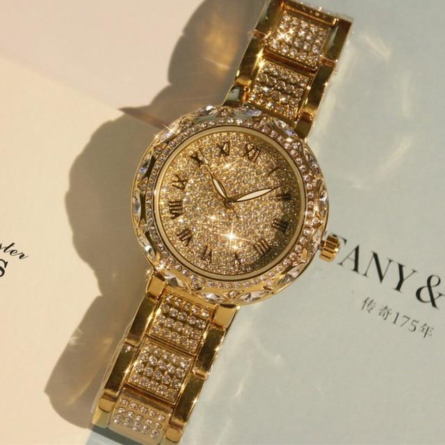 Vrouwen Horloge Japan Quartz Uur Fijne horloges Lady Fashion Party Armband  Staal Luxe Rhinestones Crystal Verjaardagscadeau 2d73bb77c450