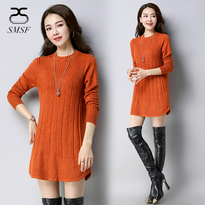 SMSF Winter Warm Pullovers Women Loose Female Sweater Dress Cashmere Sweater Long Sleeve Christmas Sweaters Stripe Tops 5 Color