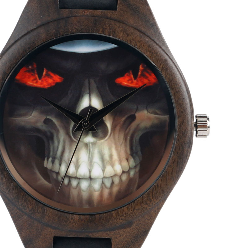 Hot Bamboo Wrist Watch Nature Wood Skull Skeleton Eyes Fire Men Women Genuine Leather Band Quartz Strap Relogio Masculino yisuya fashion nature wood wrist watch men analog sport bamboo black genuine leather band strap for men women gift relogio clock page 2