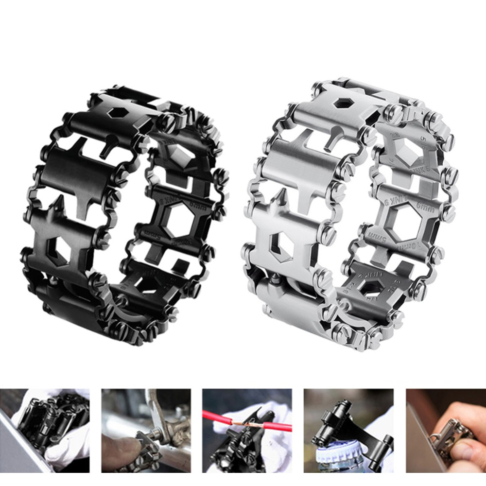 29 in 1 Portable Outdoor Survival EDC Tool Bracelet Multi-functional Wearable Tread Stainless Steel Punk Link Bracelets Strap 29 in 1 tread multifunctional bracelets 304 stainless steel walker wearable tools punk outdoor screwdriver bracelets opener kits