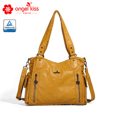 Angel kiss casual single shoulder tote for women solid PU leather washing ladies handbags 1193-2