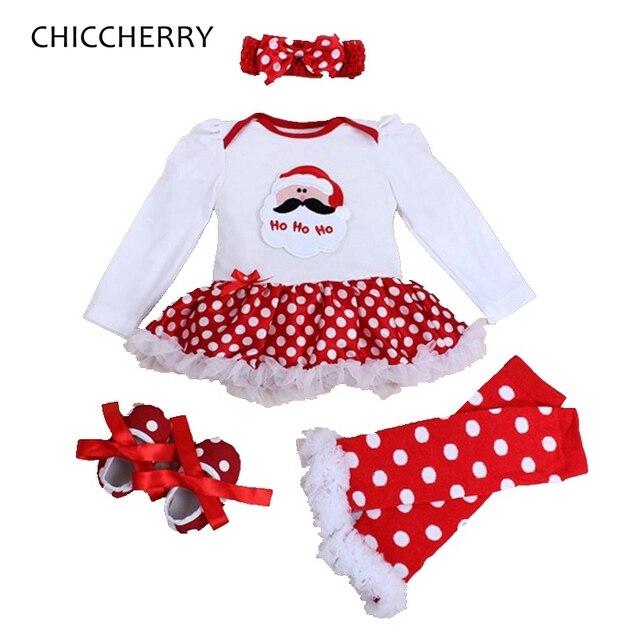 c308cc9b3818 Santa Claus Kids Christmas Outfits Long Sleeve Lace Romper Dress Legwarmers  Shoes Headband Newborn Tutu Sets Baby Girl Clothes
