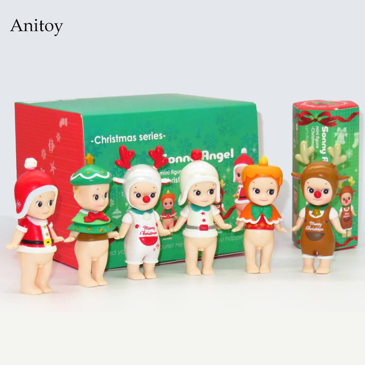 Sonny Angel 6pcs/set Mini Christmas Series Sonny Angel Dolls  PVC Action Figure Collectible Model Toy 8cm KT2530 shfiguarts batman injustice ver pvc action figure collectible model toy 16cm kt1840