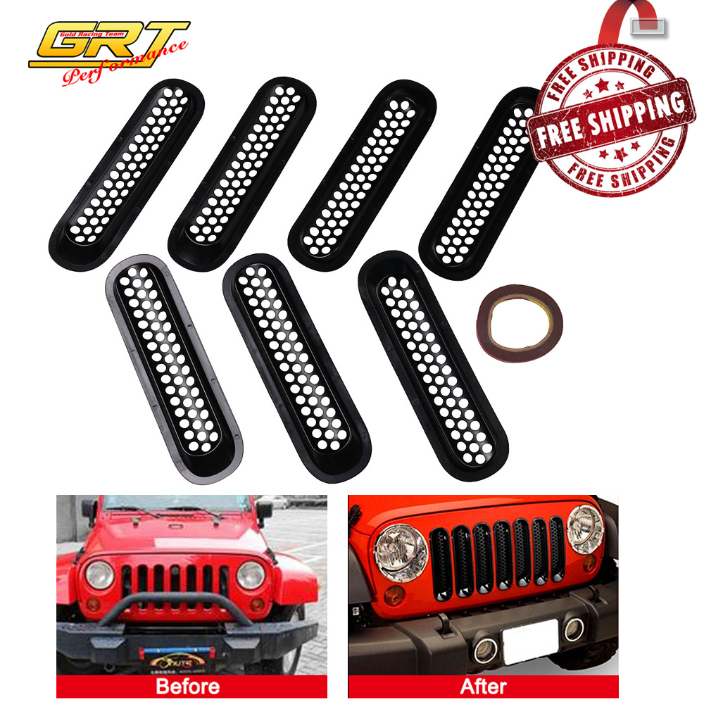 Wotefusi Car New 2 Pieces Chrome Color Bezels Front Head Light Jeep Door Headlight Covers Ring Molding Trim