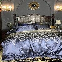 silk bedding luxury european bedding set king size duvet cover adult bedspread floral jacquard bedlinen embroidery hometextile
