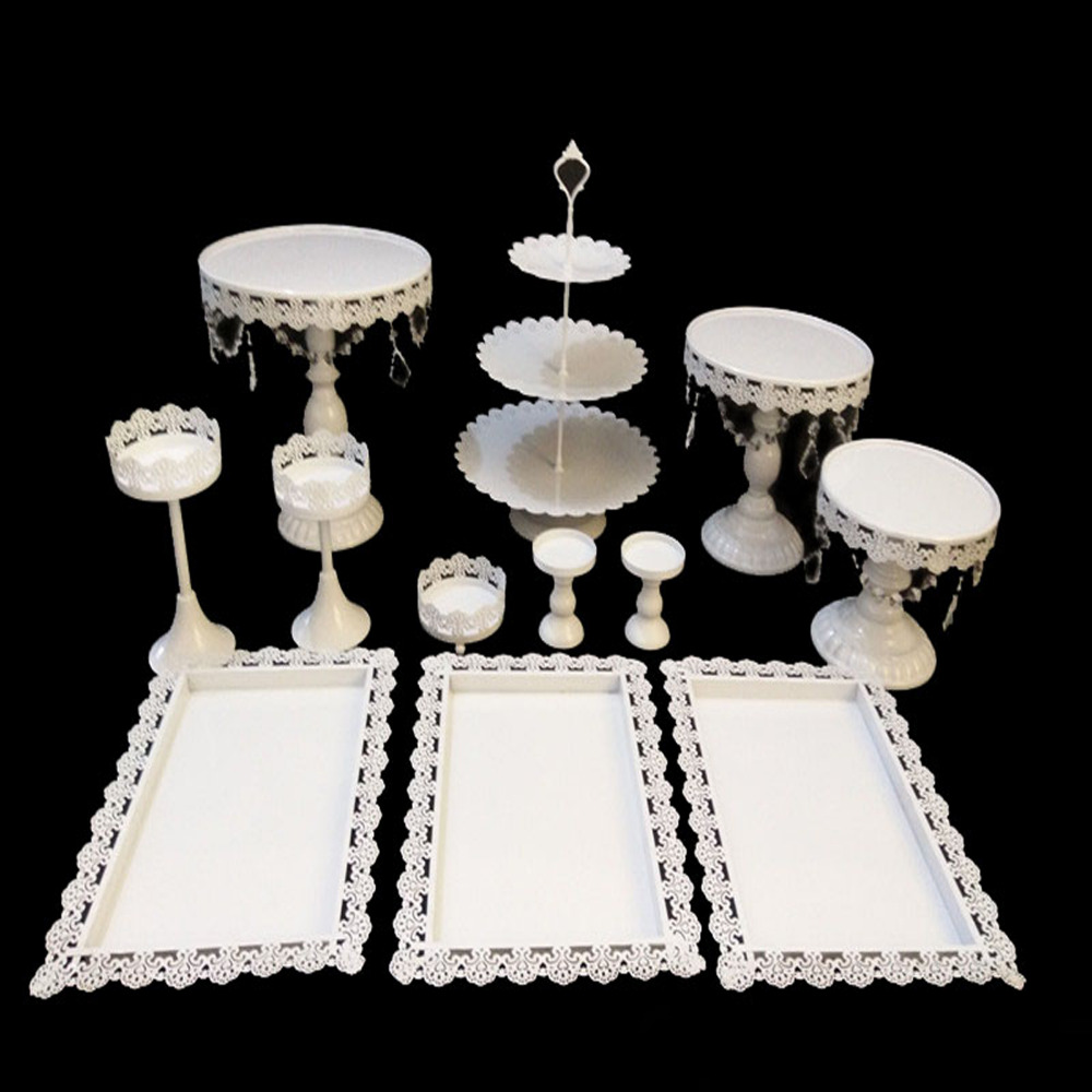 White Cake Stand Wedding Cupcake Stand Set Metal Dome Crystal Candy Bar Decoration Cake Tools Bakeware 12pcs/10pcs/9pcs/8pcs/set