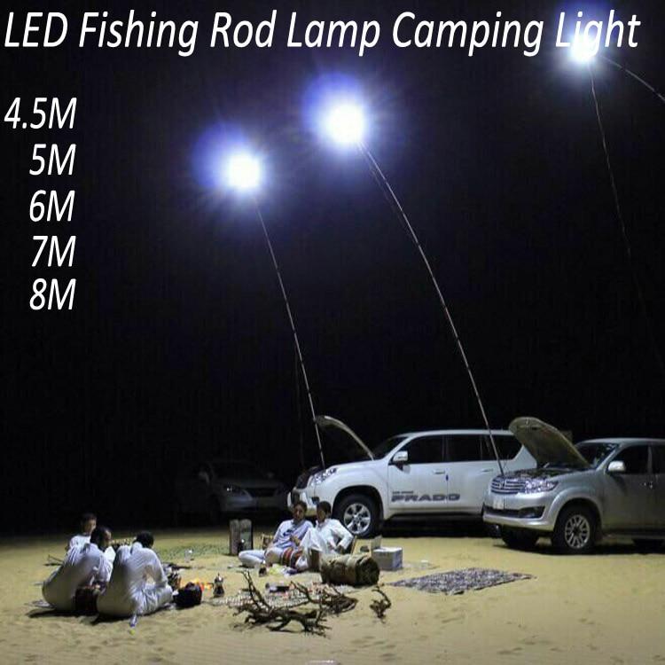 ФОТО 12V LED Camping Lights 4.5 Meters Telescopic Fishing Pole Outdoor Battery Light Fishing Rod Light White