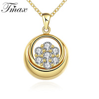 Gold Plated Cross Fiower Design Pendant Necklace Romantic Style White AAA CZ Jewelry For Women Lady