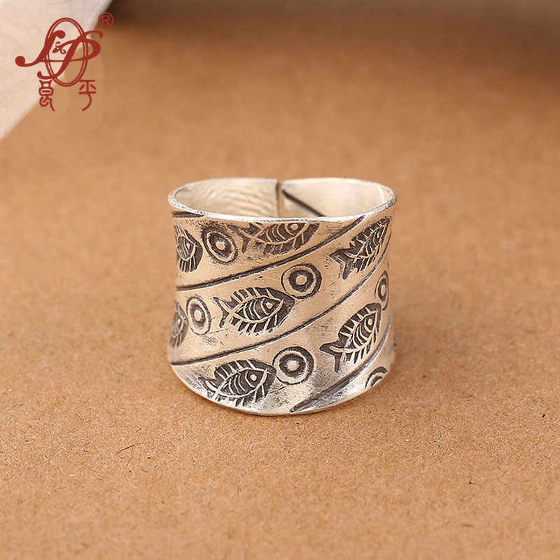 ChiangMai Thailand Handmade 925 Sterling Silver Ring For Women,Original Little Fish Retro Silver Ring Jewels For Wholesale