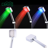 1pc LED Shower Head Hand Held Square Automatic Color Changing Shower Water Saving Temperature Bathroom Accessories