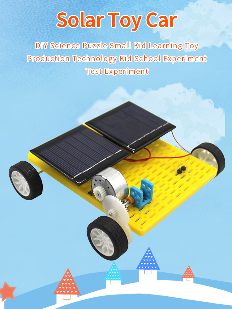 DIY Robot Dual Solar Powered Mini DIY Car Assemble Kit 4WD Classic Toys Children Kids Educational Science Gadget Creative Gift