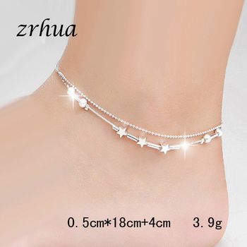 ZRHUA Beach Multilayer Star Beads Anklets Foot Chain 925 Sterling Silver Foot Anklet Bracelet For Fashion Women Jewelry 3