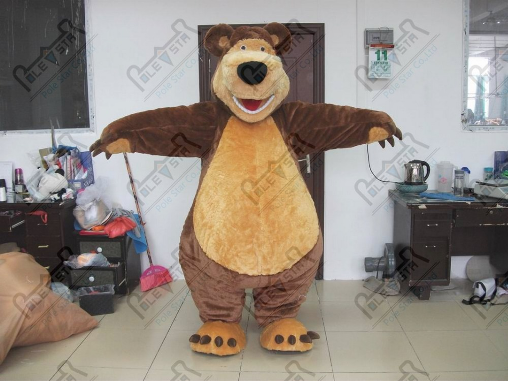 quality Masha Bear Ursa Grizzly Mascot Costume real pictures high quality masha the bear costumes