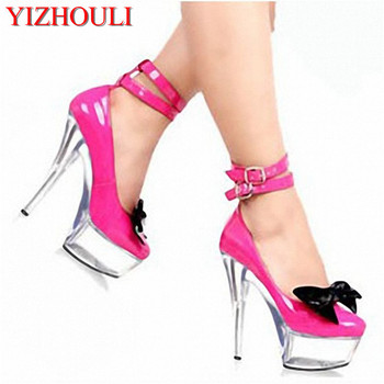 15cm Super high heel ladies love shoes, beautiful classic ladies special shoes butterfly double button and Dance Shoes