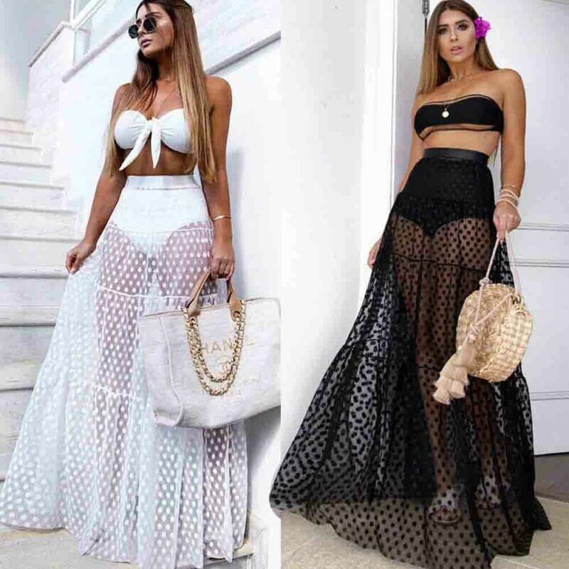 Summer Women Skirt High Waist Mesh Sheer Cover Up Beach Clubwear Sexy Lace Maxi Skirt Women