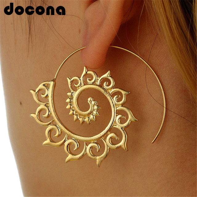 Docona oro plata hueco espiral pendientes de las señoras de las mujeres tribales de la gota pendiente círculo oreja joyería de Festival 4755