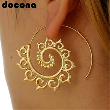 cb001646b06a Docona oro plata hueco espiral pendientes de las señoras de las mujeres  tribales de la gota pendiente círculo oreja joyería de F..