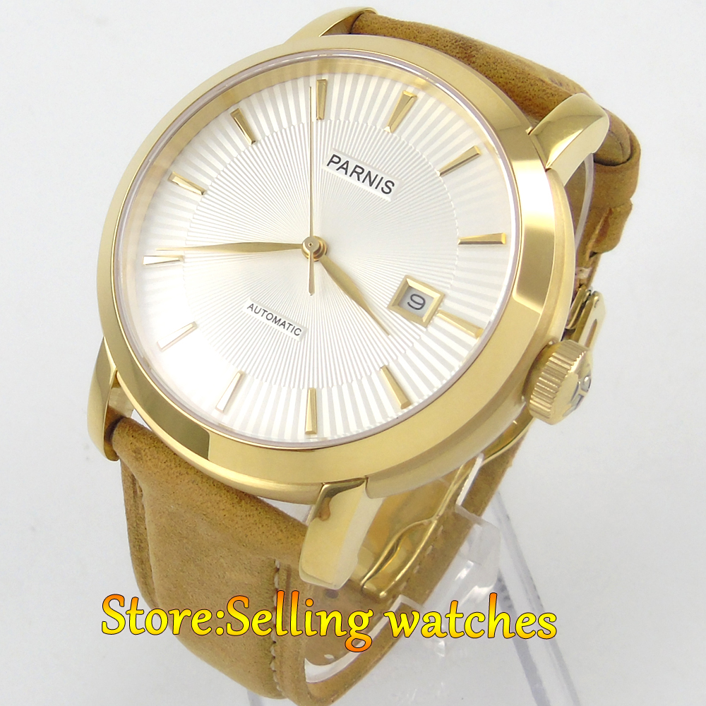 41mm Parnis white dial golden case Sapphire Glass Automatic mens Watch