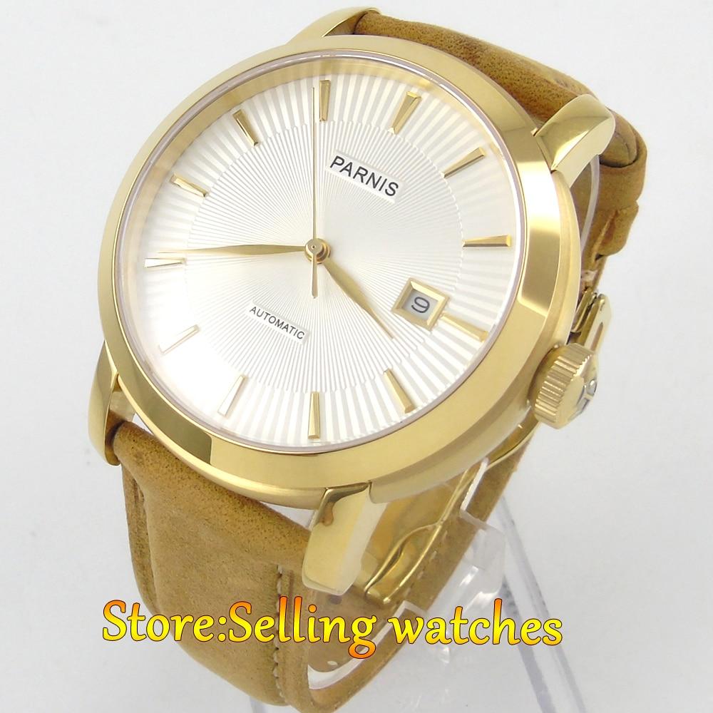 купить 41mm Parnis white dial golden case Sapphire Glass Automatic mens Watch по цене 7631.5 рублей