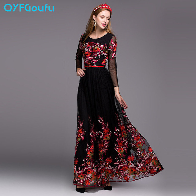 fc43273d128 QYFCIOUFU New Fashion High Quality Women Maxi Dress Long Sleeve Designer  Runway Black And White Tulle Floral Embroidered Dress
