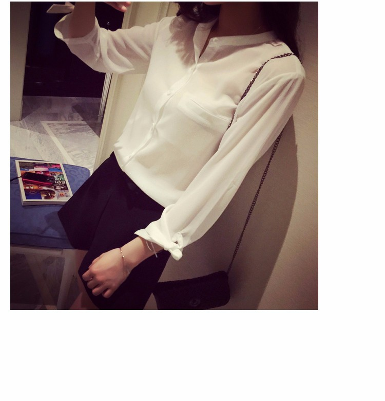 2017 Korean Style Summer Women Blouses Stand Collar Cuff Bow Chiffon Shirt Casual Loose White Tops Women's Clothing S-XL 10