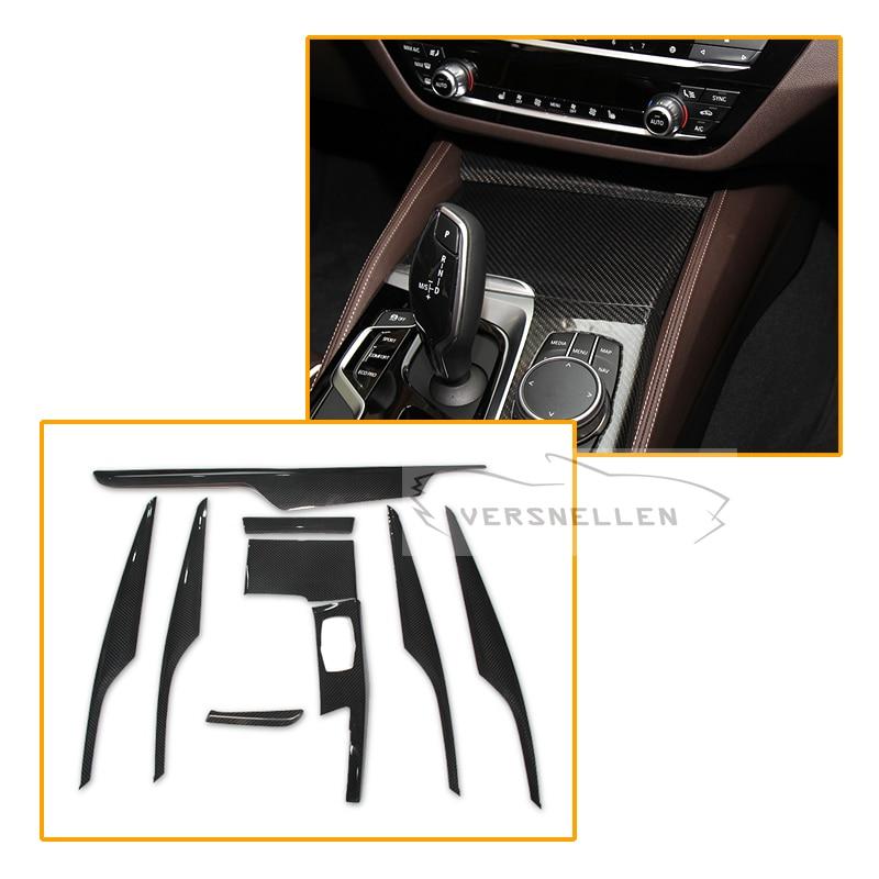 9 pcs Trim For BMW 5 Series G30 G38 Carbon Fiber Interior Trim Cover Only Left Hand Drive Gloss Black Carbon Trim 2017
