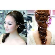 Hair Accessories For Women Pearl Flower Hairband Wedding Bride Tiaras Crown Length Headband Noiva Hair pinHair Jewelry Hair Comb