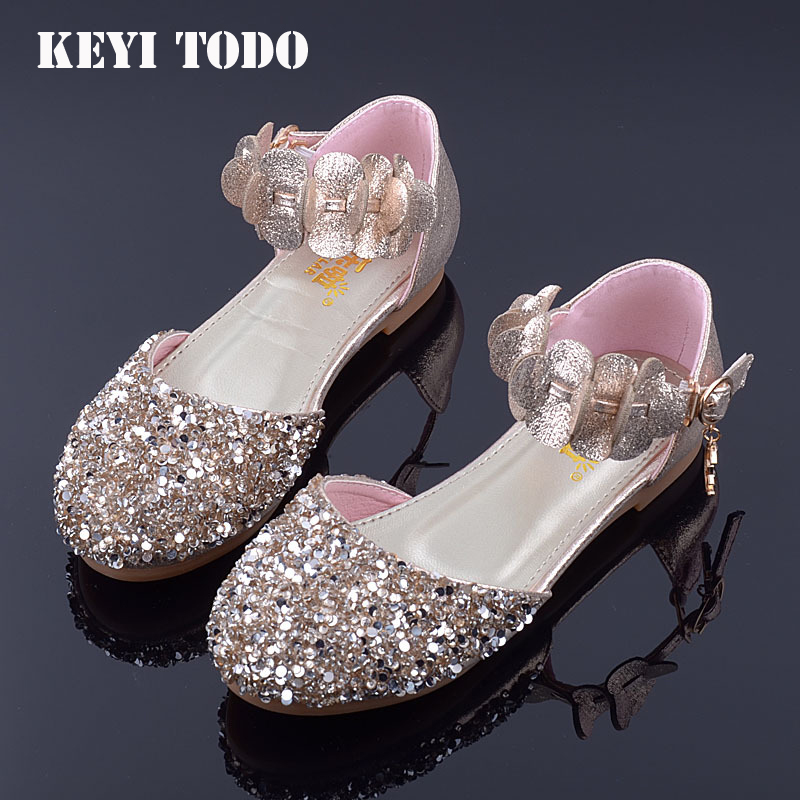 KEYITODO Princess Kids Leather Shoes For Girls Flower Casual Glitter Children sequined flower Girls Shoes Pink SilverKEYITODO Princess Kids Leather Shoes For Girls Flower Casual Glitter Children sequined flower Girls Shoes Pink Silver