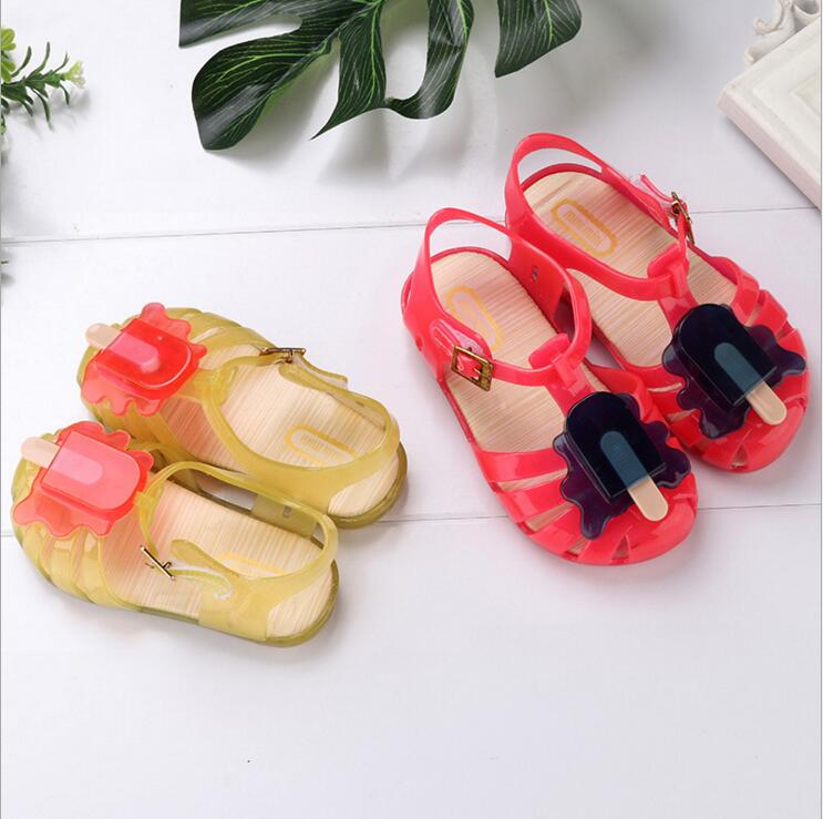 Mini Melissa 2018 New Summer Ice-lolly Girls Sandals Big Size Kids Shoes Soft Insole Hook Loop Hollow Out Shoe