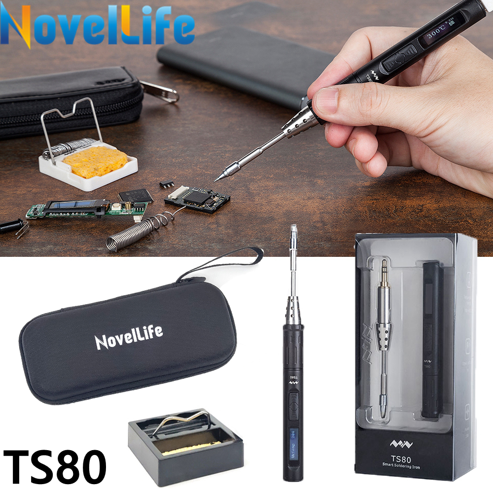 TS80 Mini Electric Soldering Iron Station Portable Organizer Bag Kit Adjustable Temperature Digital OLED Display USB