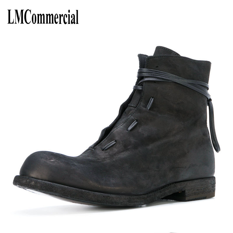 men Riding boots winter new trend male British Korean men short canister boots leather shoes breathable
