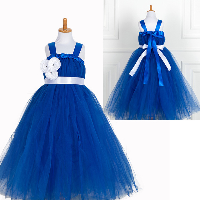 Princess Girls Party Wear Tutu Birthday Party Tulle Long Evening Gowns Kids  Children Party Dress Royal Blue Fluffy Dressing Gown 52a8ac569ae7