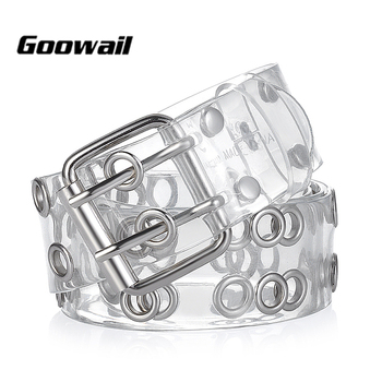 Goowail 2019 two Row Grommets Fashion Belts For Women Double Pin Buckle PVC Material strap for ladies Accessories