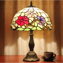 12Inch Tiffany Style Table Lamp With Flowers And Leaves Patterns With Stained  Glass Free Get 5W