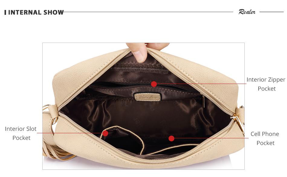 REALER brand small shoulder bag for women messenger bags ladies PU leather handbag purse tassels female crossbody bag women 2019 6