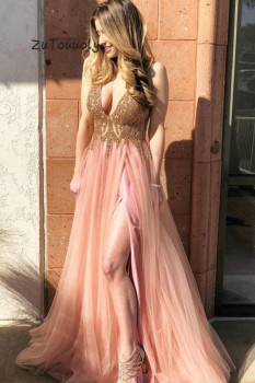 Charming Pink Evening Dress Deep V Neck Prom Dresses Long With High Slits Spark Beaded Tops V Back Formal Graduation Dress 2019