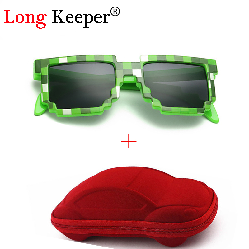 Long Keeper Vintage Square Novelty Mosaic Sun Glasses Unisex Pixel Solglasögon Trendiga glasögon med fall barn gåva för barn