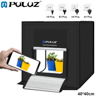 PULUZ 40*40cm LED Photo Studio Softbox Light Tent Soft Box +AC Adapter +3pcs Backgrounds for Phone Camera DSLR Jewelry Toy Shoes