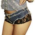 Pantalones Cortos de verano Las Mujeres Discoteca Sexy de Encaje Denim Short Jeans Nightclub Sexy Short Jeans