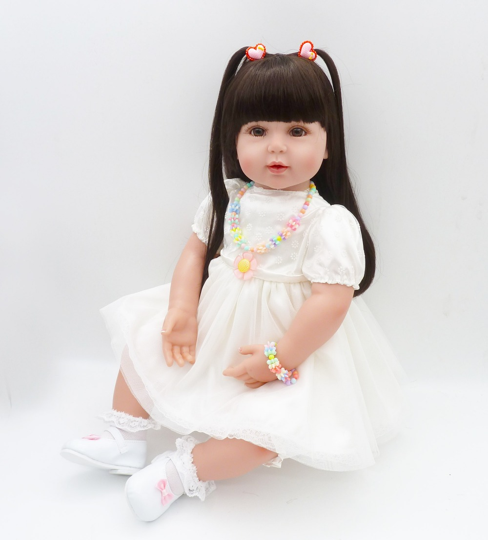 Pursue 24/60 cm Silicone Reborn Baby White Beautiful Dress With Color Necklace Black Long Hair Cloth Body Princess Doll Toys