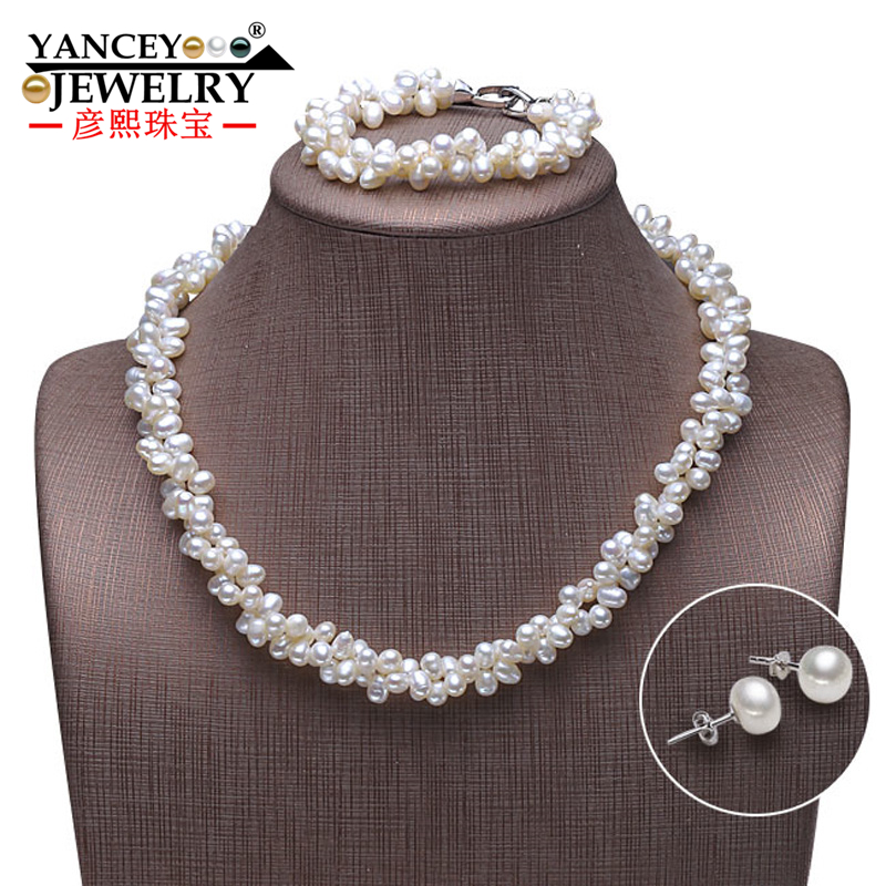 YANCEY New natural 7-8mm white freshwater pearl fine jewelry sets, Pearls intertwined with each other with S925 Silver цена