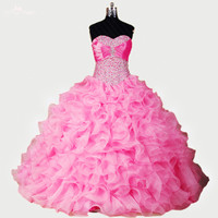 RSE274 High Quality Yiaibridal Hot Pink Ball Gowns Sweet 16 Dresses Puffy Organza Quinceanera Dresses