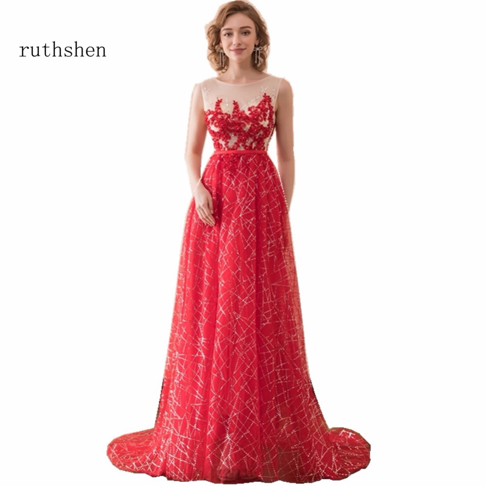 ruthshen   Prom     Dresses   Beaded sequins Sexy Red Long Gown for girls Vestidos De Gala Largos 2018