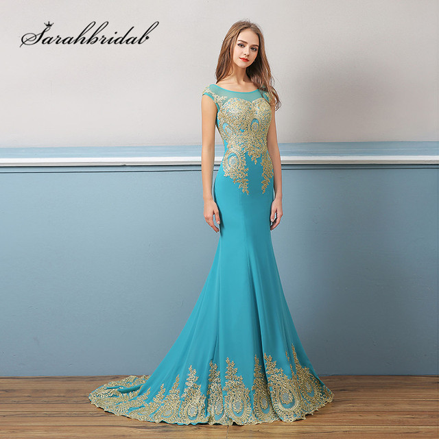 Royal Blue Mermaid Long Evening Dress With Cap Sleeves Designer Embroidery Backless Jewel Prom Party Vestido